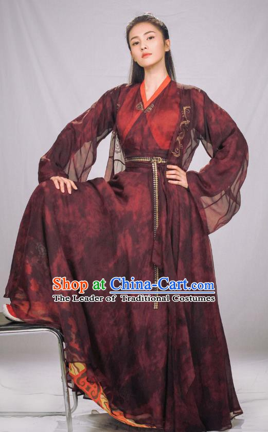 Ancient Chinese Ming Dynasty Female Knight-Errant Swordswoman Replica Costume for Women