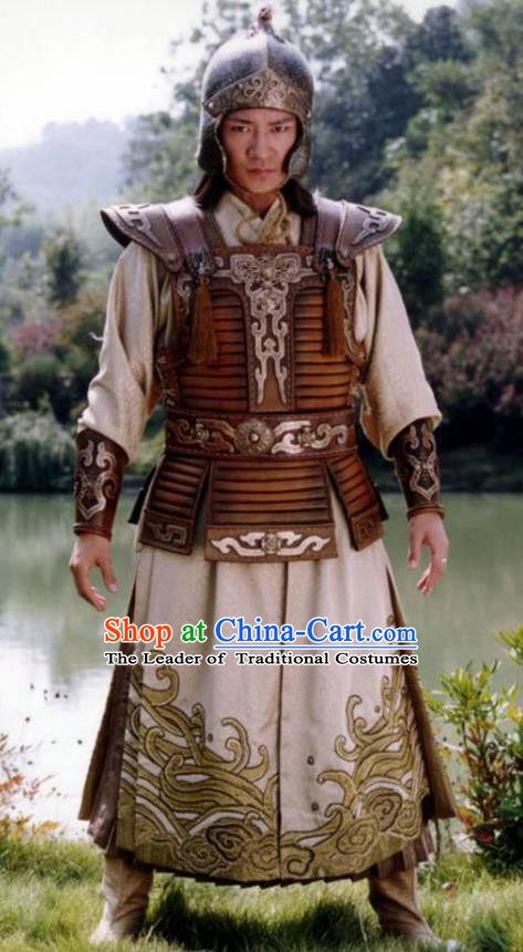 Ancient Chinese Song Dynasty Swordsman Crown Prince Replica Costume Helmet and Armour for Men