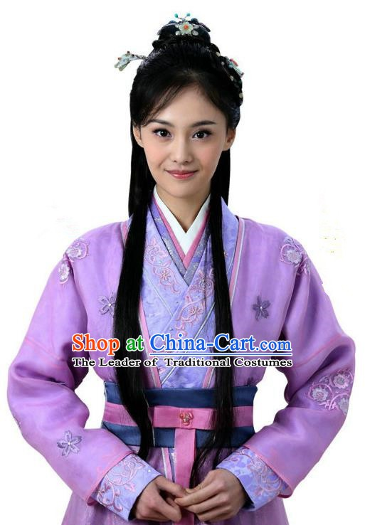 Ancient Chinese Song Dynasty Palace Princess Embroidered Purple Dress Replica Costume for Women