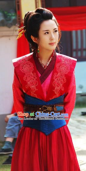 Ancient Chinese Song Dynasty Swordswoman Red Dress Generals Replica Costume for Women