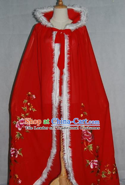 China Traditional Beijing Opera Actress Cloak Costume Chinese Peking Opera Embroidered Red Cape