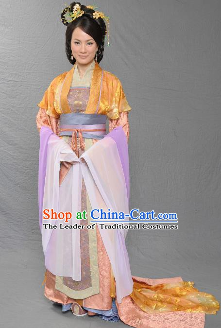 Chinese Song Dynasty Imperial Consort of Zhao Yun Embroidered Dress Ancient Palace Replica Costume for Women