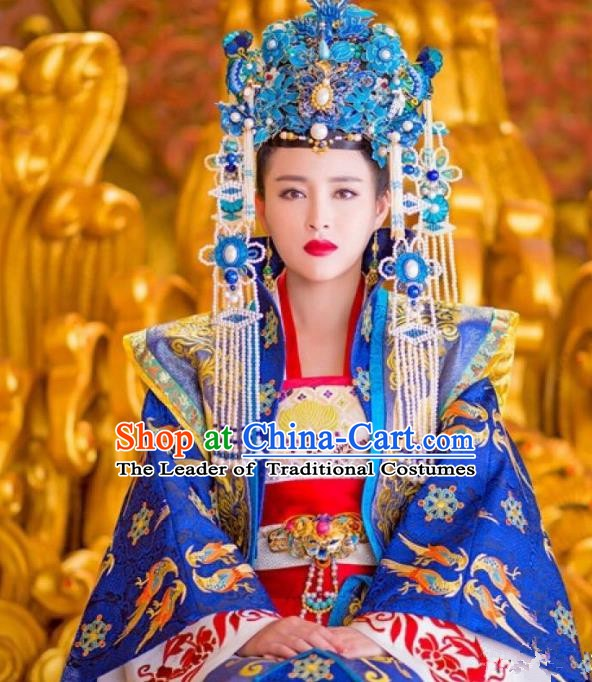 Chinese Song Dynasty Empress Dowager Embroidered Dress Ancient Queen Mother Replica Costume for Women