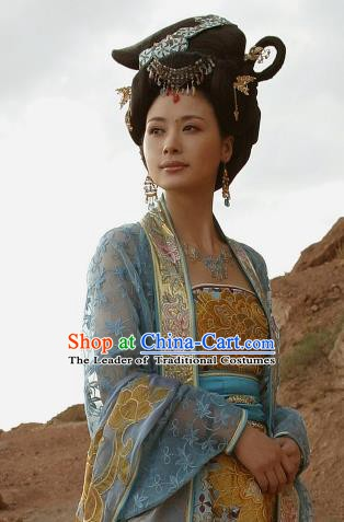 Chinese Ancient Song Dynasty Khrom Countess Embroidered Dress Replica Costume for Women