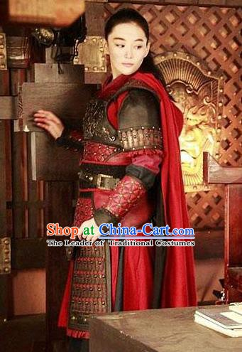 Chinese Ancient Southern Song Dynasty Female General Liang Hongyu Replica Costume for Women