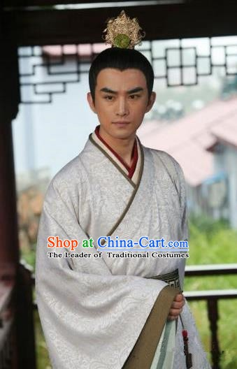 Chinese Ancient Song Dynasty Emperor Huizong Zhao Ji Replica Costume for Men