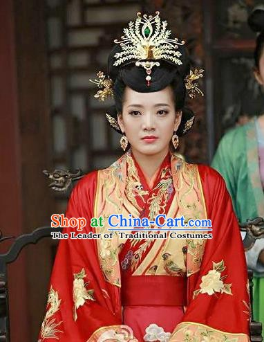 Chinese Ancient Ming Dynasty Yingzong Zhu Qizhen Empress Embroidered Replica Costume for Women