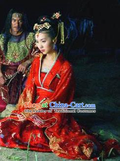 Chinese Ancient Khotan Kingdom Princess Wedding Dress Embroidered Replica Costume for Women