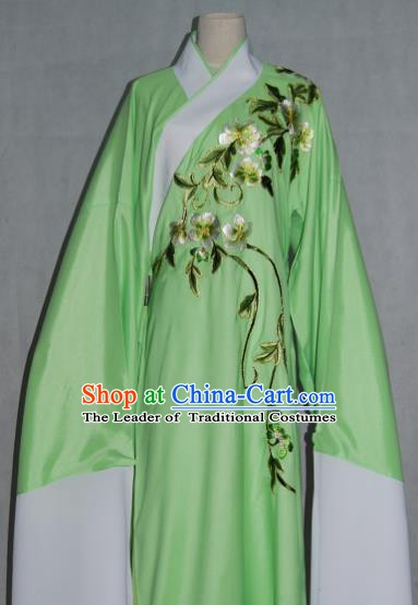 China Traditional Beijing Opera Niche Costume Embroidered Flowers Green Robe Chinese Peking Opera Scholar Clothing for Adults