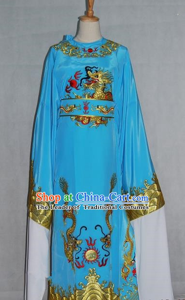 China Traditional Beijing Opera Niche Costume Chinese Peking Opera Lang Scholar Blue Embroidered Robe for Adults