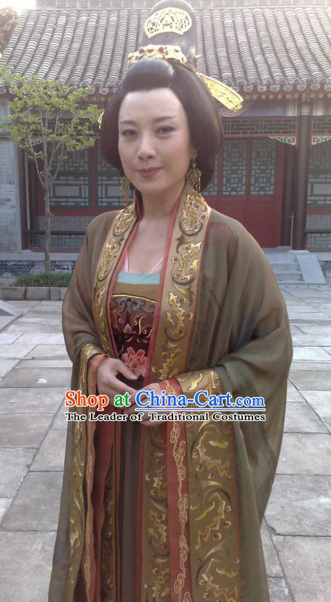 Chinese Traditional Tang Dynasty Empress Wu Zetian Embroidered Dress Queen Replica Costume for Women