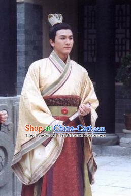 Traditional Chinese Tang Dynasty De Emperor Li Kuo Hanfu Replica Costume for Men
