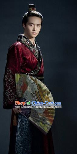 Traditional Chinese Tang Dynasty Swordsman Nobility Childe Wang Yuanfang Replica Costume for Men