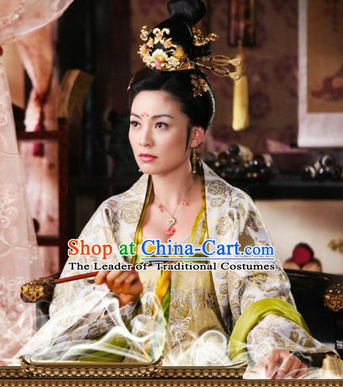 Chinese Traditional Tang Dynasty Palace Female Officials Shangguan Waner Embroidered Replica Costume for Women