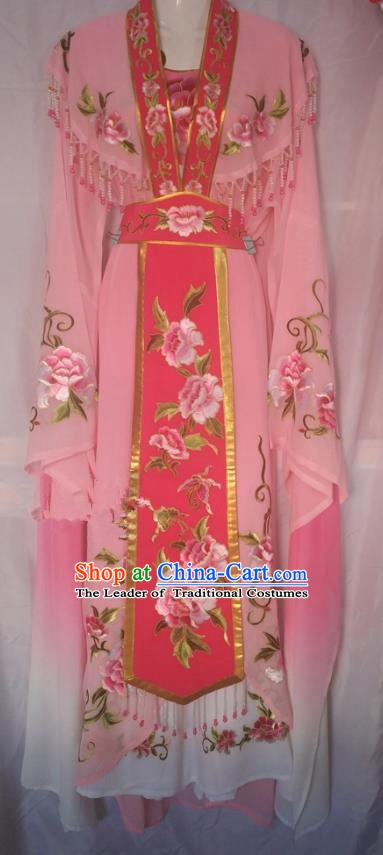 Traditional China Beijing Opera Princess Pink Dress Chinese Peking Opera Diva Embroidered Costume
