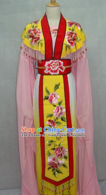 Traditional China Beijing Opera Princess Yellow Dress Chinese Peking Opera Diva Embroidered Costume