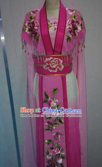 Traditional China Beijing Opera Princess Rosy Dress Chinese Peking Opera Diva Embroidered Costume