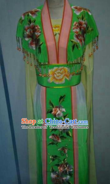 Traditional China Beijing Opera Princess Green Dress Chinese Peking Opera Diva Embroidered Costume