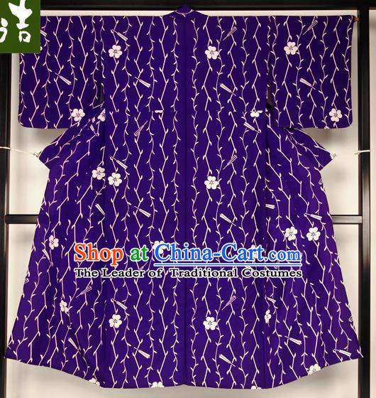 Japanese National Costume Male Purple Kimono Ancient Hakama Yukata Robe for Men