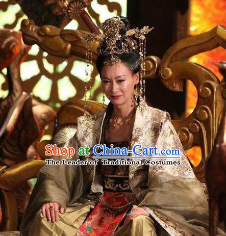 Chinese Ancient Tang Dynasty Female Emperor Embroidered Dress Empress Wu Zetian Replica Costume for Women