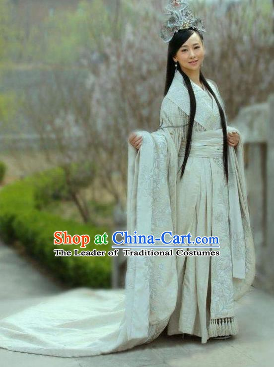 Chinese Ancient Warring State Period Theatre Princess Hanfu Embroidered Costume and Headpiece Complete Set