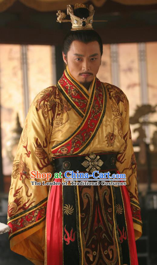 Chinese Ancient Tang Dynasty Emperor Li Shimin Replica Costume Embroidered Imperial Robe for Men