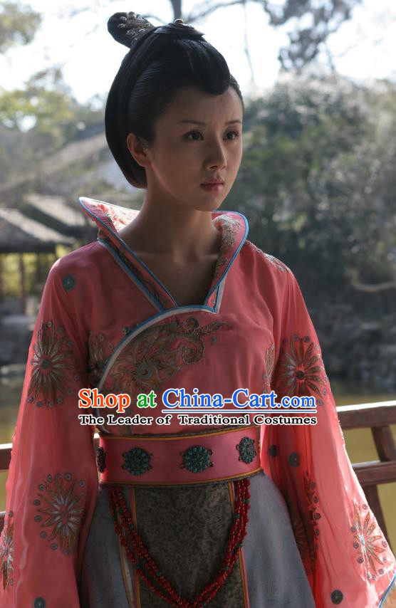 Chinese Sui Dynasty Princess Yue Rong Hanfu Dress Replica Costume for Women