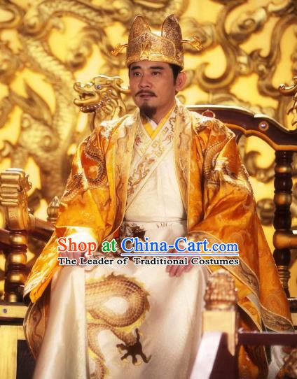 Chinese Ancient Emperor Gaozong of Tang Dynasty Li Zhi Embroidered Replica Costume for Men