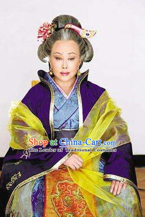 Ancient Chinese Tang Dynasty Empress Wu Meiniang Hanfu Purple Dress Replica Costume for Women