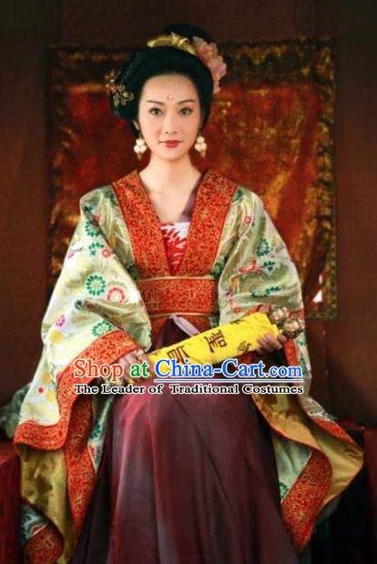 Ancient Chinese Tang Dynasty Imperial Concubine Embroidered Hanfu Dress Replica Costume for Women