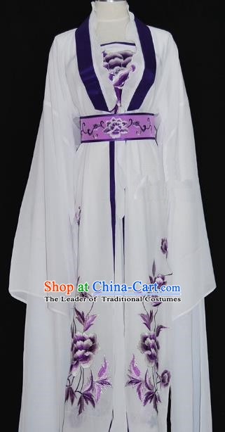 Traditional Chinese Beijing Opera Diva Purple Dress Peking Opera Nobility Lady Embroidered Costume