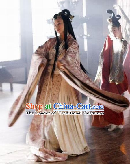 Chinese Ancient Warring States Period Imperial Concubine Hanfu Embroidered Costume for Women