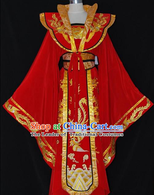 Traditional Chinese Beijing Opera Imperial Empress Red Dress Peking Opera Diva Embroidered Costume