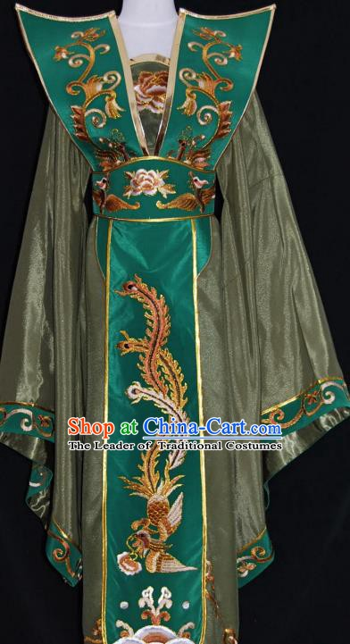 Traditional Chinese Beijing Opera Queen Olive Green Dress Peking Opera Diva Embroidered Costume