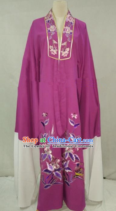 Traditional Chinese Beijing Opera Niche Purple Cape Peking Opera Young Men Costume for Adults