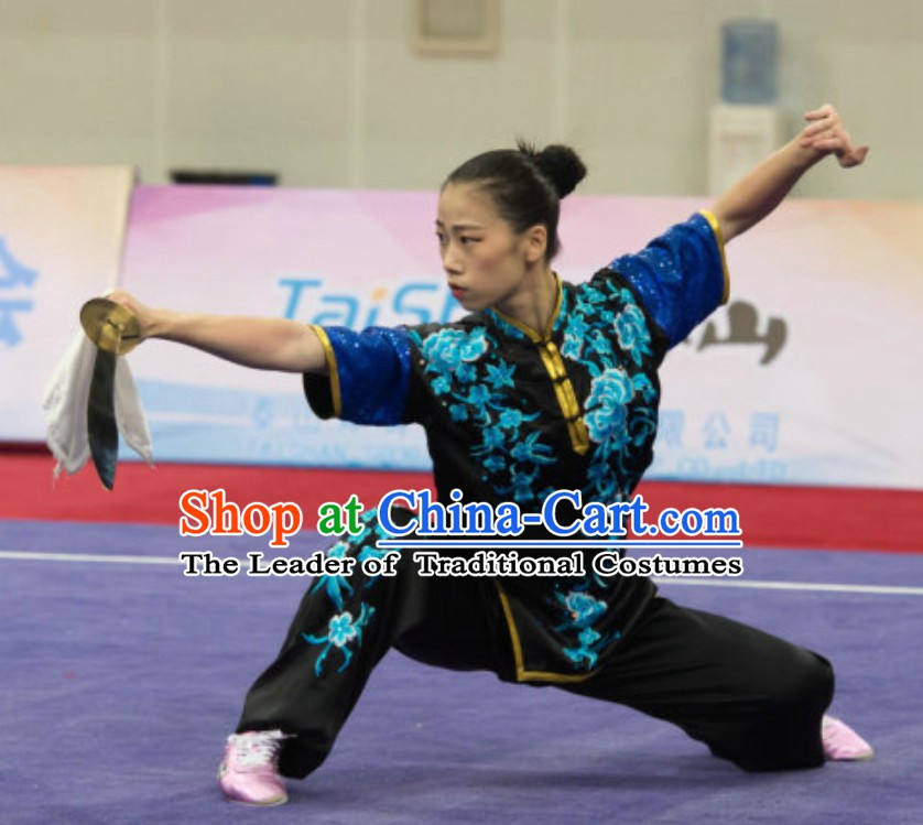 Top Southern Fist Kung Fu Uniforms  Tai Chi Uniforms Martial Arts Blouse Pants Kung Fu Suits Kungfu Outfit Professional Kung Fu Clothing Complete Set for Girls Kids Teenagers