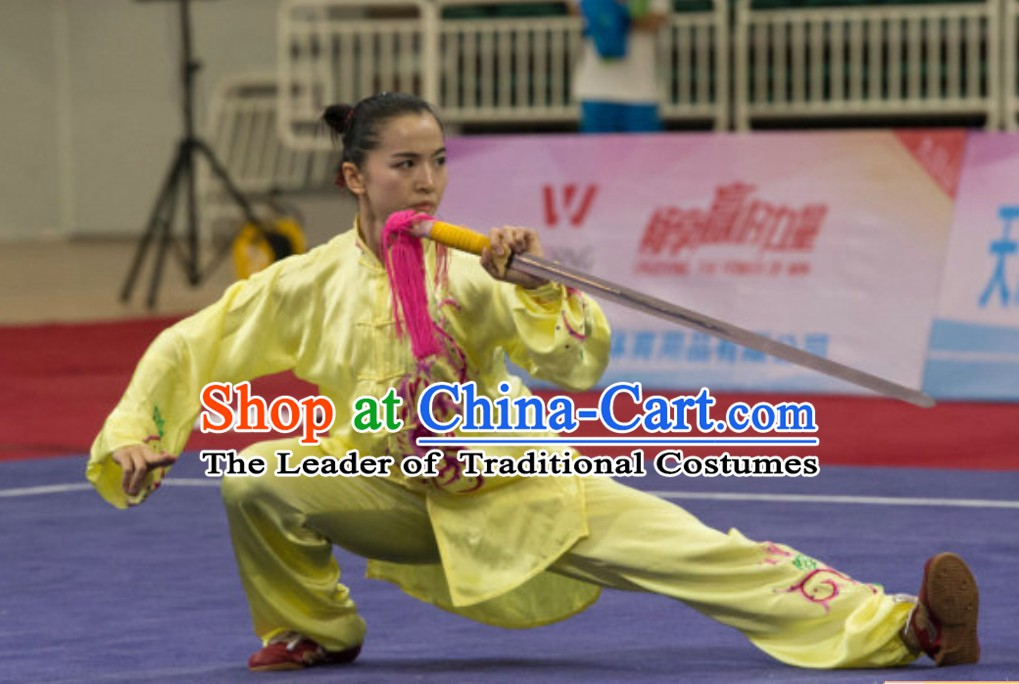 Top Taiji Kung Fu Uniforms  Tai Chi Uniforms Martial Arts Blouse Pants Kung Fu Suits Kungfu Outfit Professional Kung Fu Clothing Complete Set for Girls Kids Teenagers