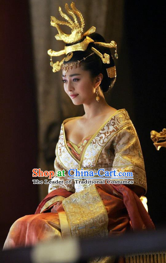 Ancient Chinese Tang Dynasty Imperial Concubine Yang Embroidered Replica Costume and Headpiece Complete Set for Women