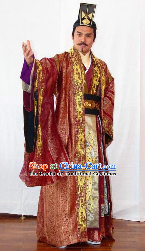 Chinese Ancient Emperor of Sui Dynasty Yang Guang Embroidered Replica Costume and Headpiece Complete Set for Men