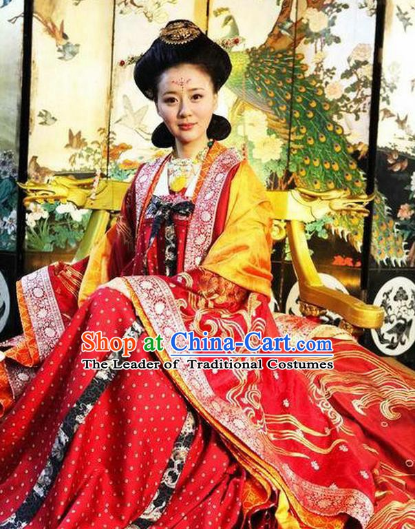 Chinese Tang Dynasty Palace Queen Historical Costume Ancient Empress Wang Replica Costume for Women
