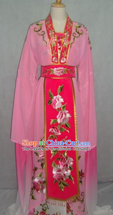Traditional Chinese Beijing Opera Diva Embroidered Costume Peking Opera Young Lady Pink Dress
