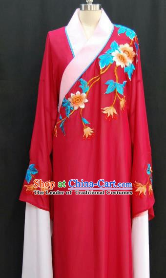 Traditional Chinese Beijing Opera Embroidered Water Sleeve Robe Peking Opera Niche Rosy Costume for Adults