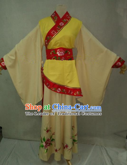 Traditional Chinese Beijing Opera Young Lady Embroidered Costume Professional Peking Opera Maidservants Clothing