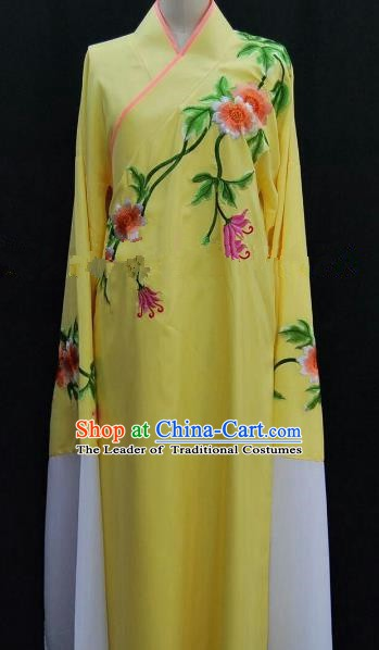 Traditional Chinese Beijing Opera Embroidered Yellow Robe Peking Opera Niche Costume for Adults