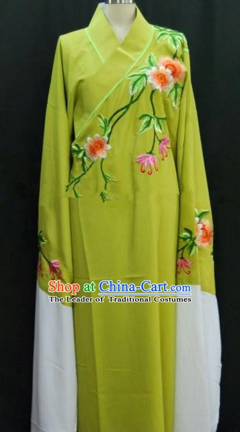 Traditional Chinese Beijing Opera Embroidered Grass Green Robe Peking Opera Niche Costume for Adults