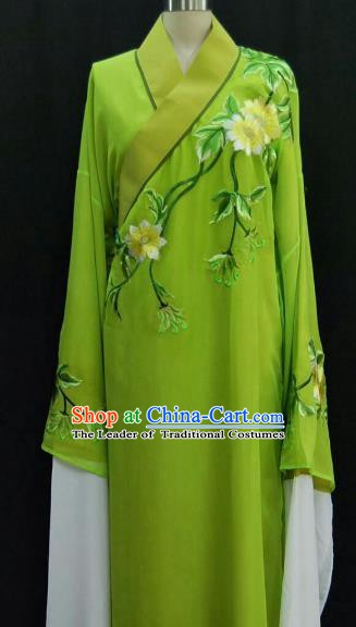 Traditional Chinese Beijing Opera Embroidered Water Sleeve Robe Peking Opera Niche Green Costume for Adults
