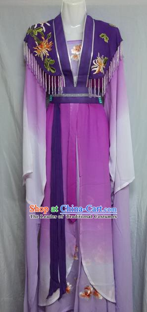 Top Grade Chinese Beijing Opera Actress Purple Dress China Peking Opera Nobility Lady Costume