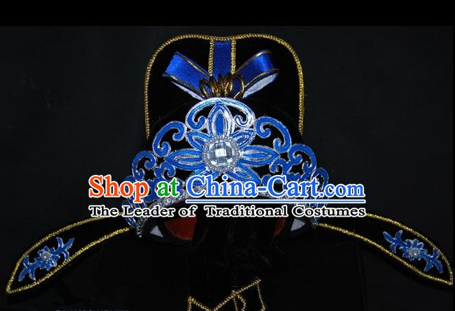 China Traditional Beijing Opera Young Men Headwear Chinese Peking Opera Niche Hats for Men