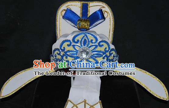 China Traditional Beijing Opera Young Men Headwear Chinese Peking Opera Niche White Hats for Men