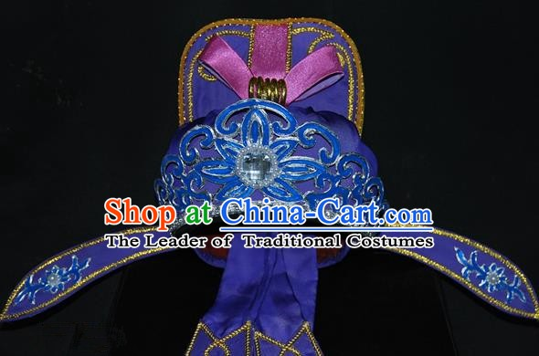 China Traditional Beijing Opera Young Men Headwear Chinese Peking Opera Niche Purple Hats for Men